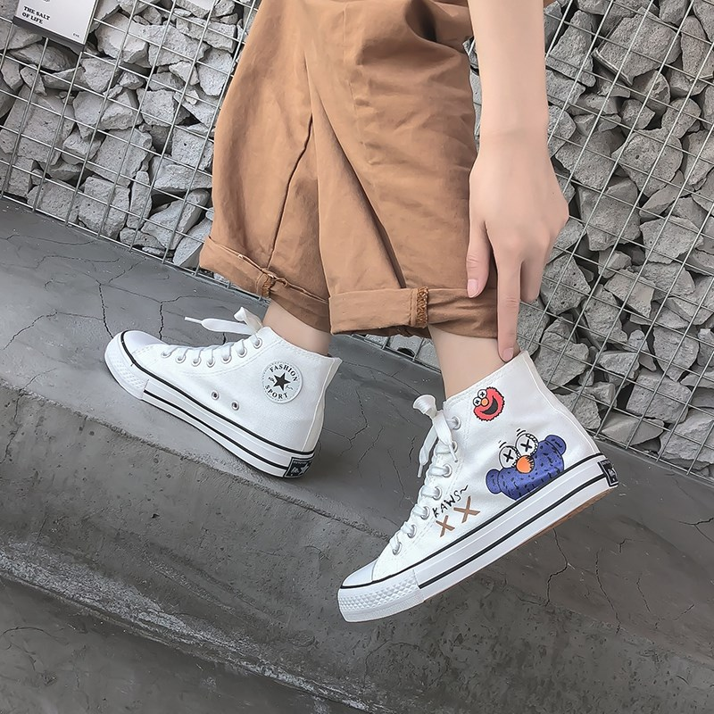 Shoes with overalls, womens hip hop canvas shoes, pattern graffiti, round head, wide feet, high waist, all kinds of Korean version