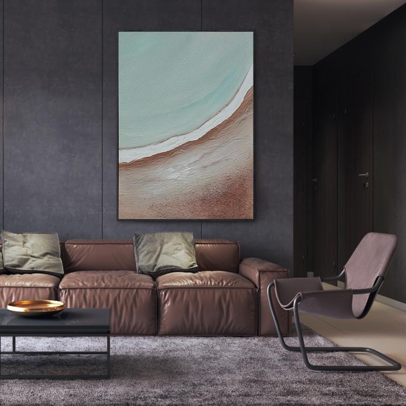 海邊玄關豎版掛畫抽象客廳裝飾畫原創手繪北歐輕奢風手工油畫|