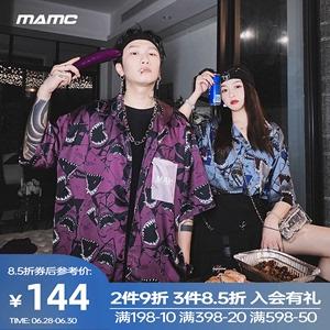 MAMC欧美街头满印鲨鱼衬衫2020新款宽松夏季情侣男女潮牌嘻哈短袖