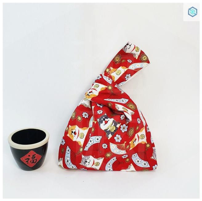 ? Wrist bag Japanese style and wind knot small handbag Harajuku portable small bag cloth bag hand bag pocket pocket