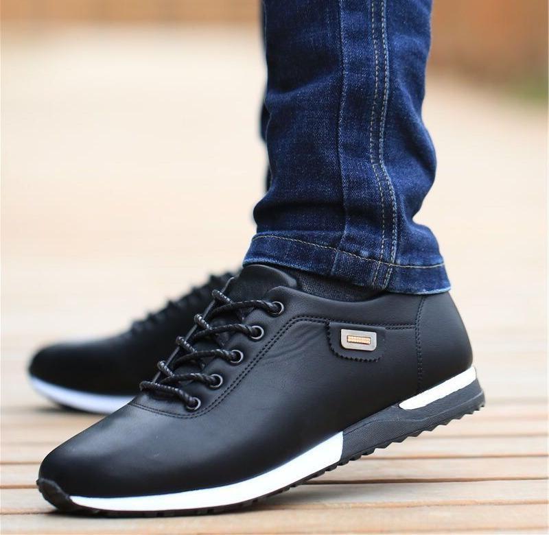 A秋季男鞋防水防臭透气皮鞋板鞋青年男士百搭休闲鞋潮流运动鞋子