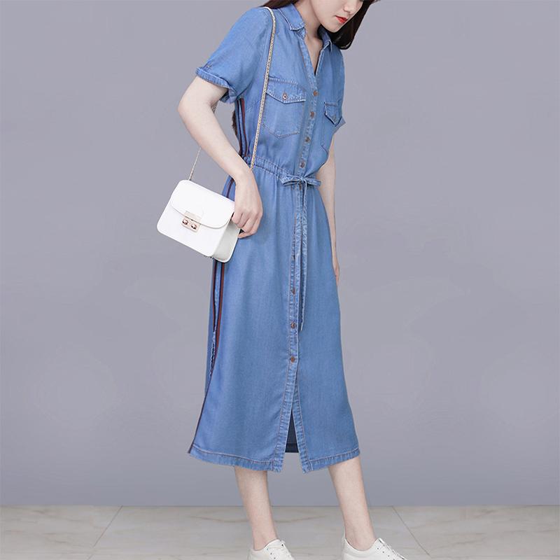 Summer light mature style denim dress womens spring and autumn 2020 new waist show thin temperament summer dress year