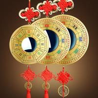 纯铜罗经八卦镜挂件凸镜凹镜配铜钱家居品摆件