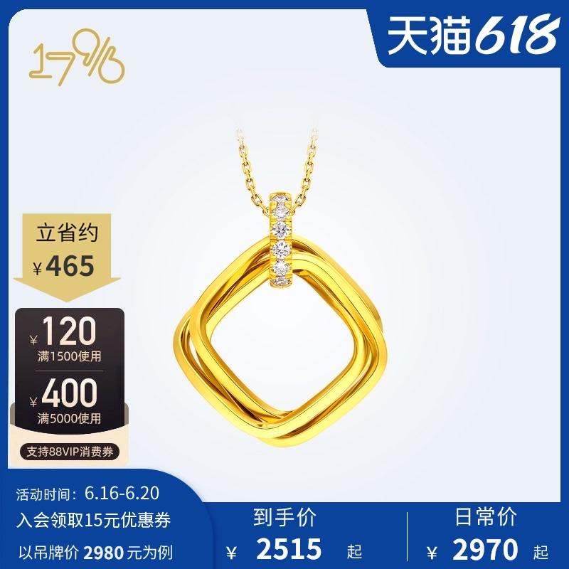 周大福17916复古几何方环22K金钻石项链锁骨链CE63555