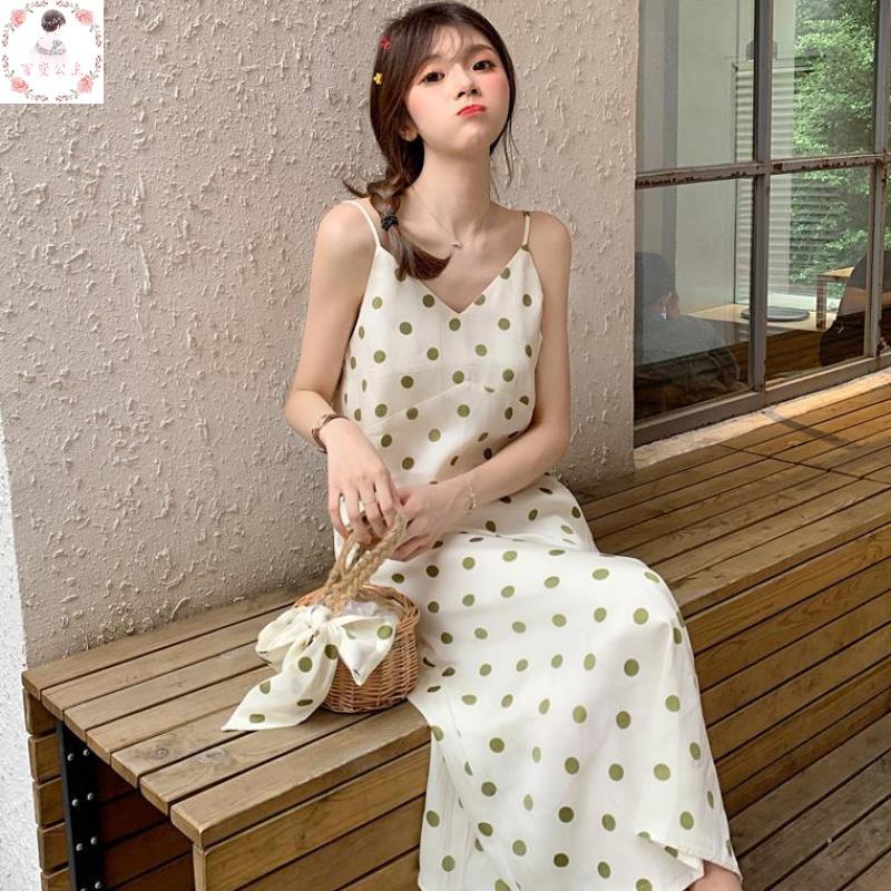 韩版波点吊带裙女性感百搭连衣裙2019夏季无袖过膝长裙