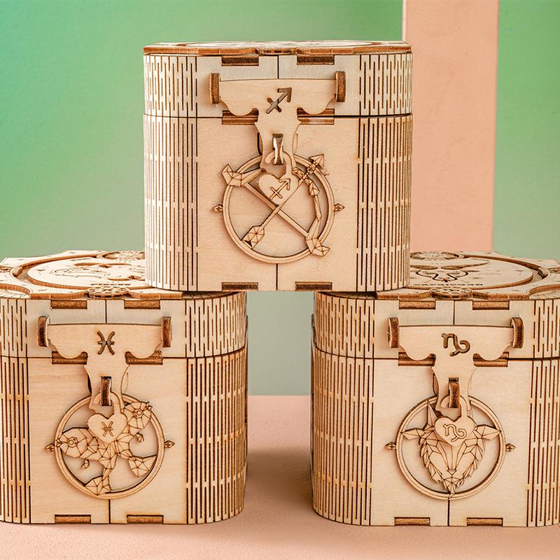 乐音园十二星座木质音乐盒八音盒玩具积木diy手工拼装女生日礼物