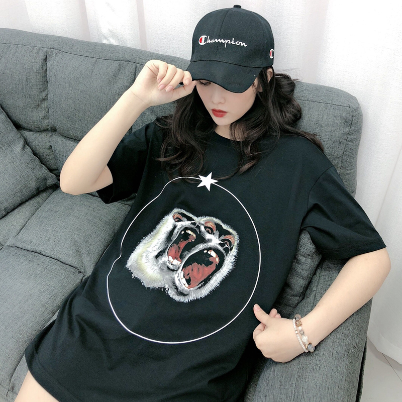 European and American fashion brand GVC short sleeve womens double monkey baboon g family T-Shirt NEW lovers top loose cotton animal pattern