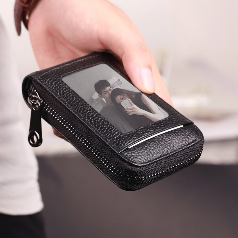 Organ card bag mens multi Card Leather Case Ultra thin driving license large capacity womens zipper Purse Card bag