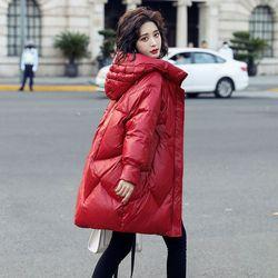 白鸭绒羽绒服女2020年冬季小个子中长款时尚洋气轻薄外套
