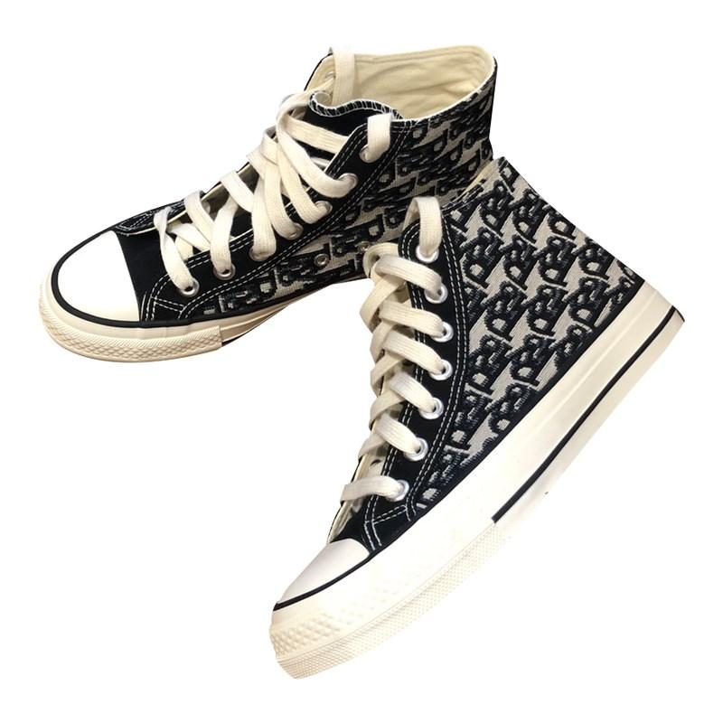 百搭抢眼 复古英伦定制高密度帆布花纹图案高帮帆布鞋