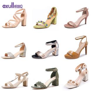 依思q女鞋 百搭一字扣带凉鞋 子潮女 细跟高跟女鞋 时尚 夏季