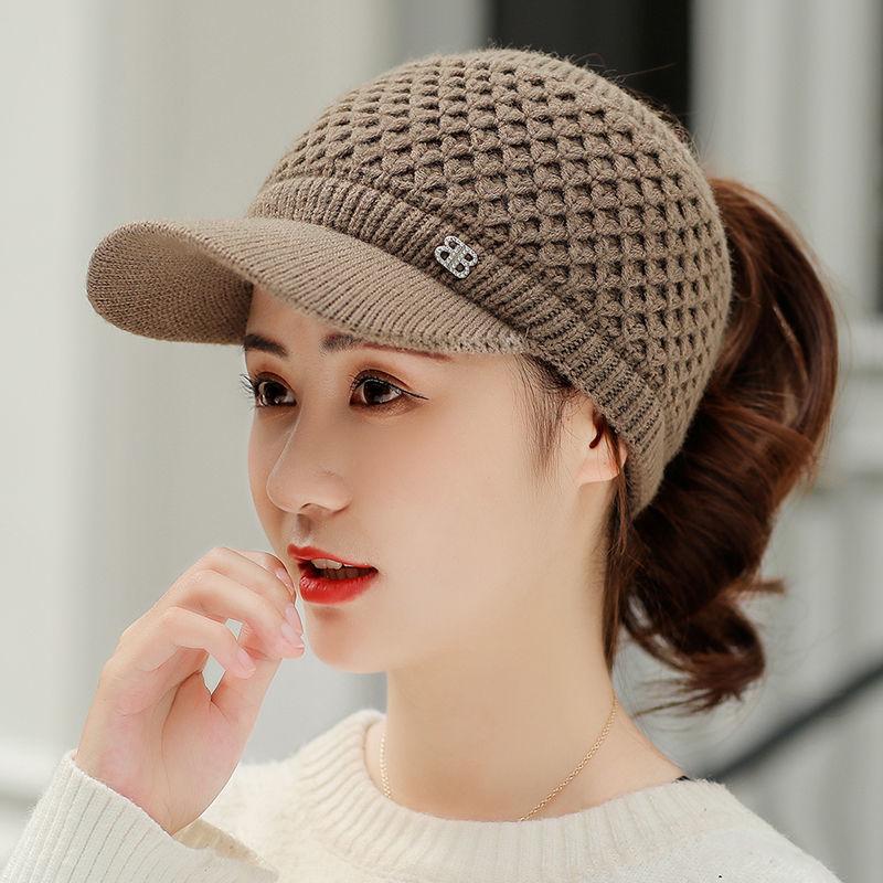 加绒空顶鸭舌帽保暖毛线帽子冬季女新款百搭骑车防风帽女士针织帽网上购物优惠券