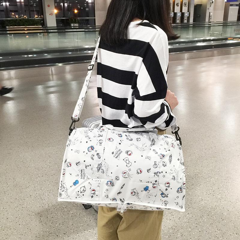 Folding travel bag womens handbag trolley bag large capacity light short distance luggage bag Single Shoulder Messenger fitness bag