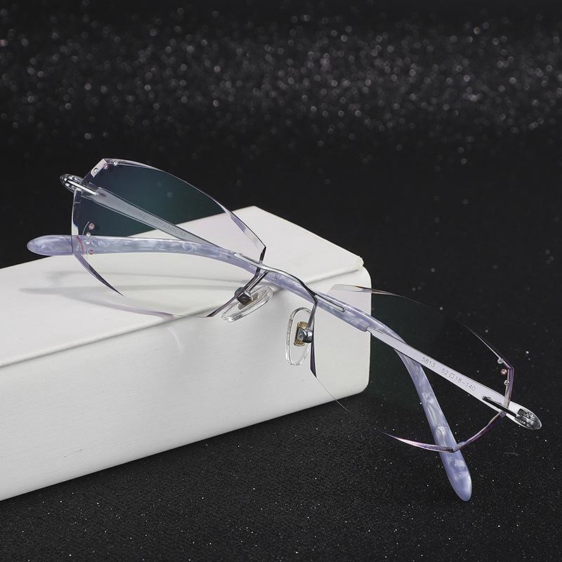 雕花款无框防蓝光眼镜超轻纯钛眼镜架男女潮款护目镜配近视