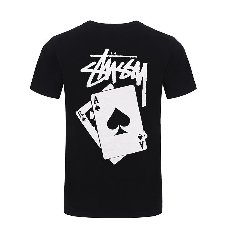 Stussy斯图西潮牌2021夏新款宽松圆领短袖男女同款扑克牌情侣T恤