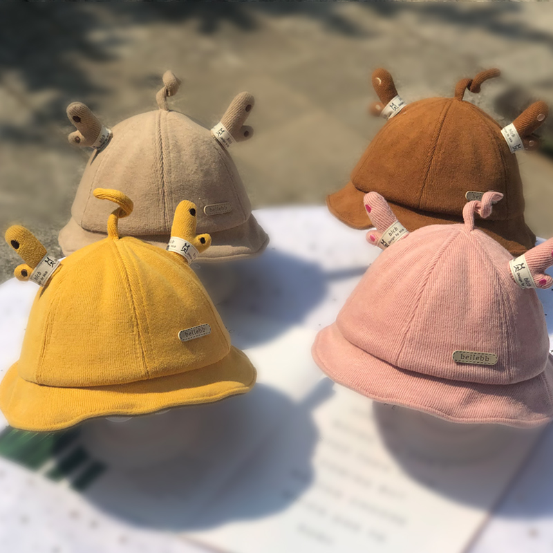Baby fishermans hat spring and autumn cute antler basin hat baby baby boys and girls childrens hat autumn and winter