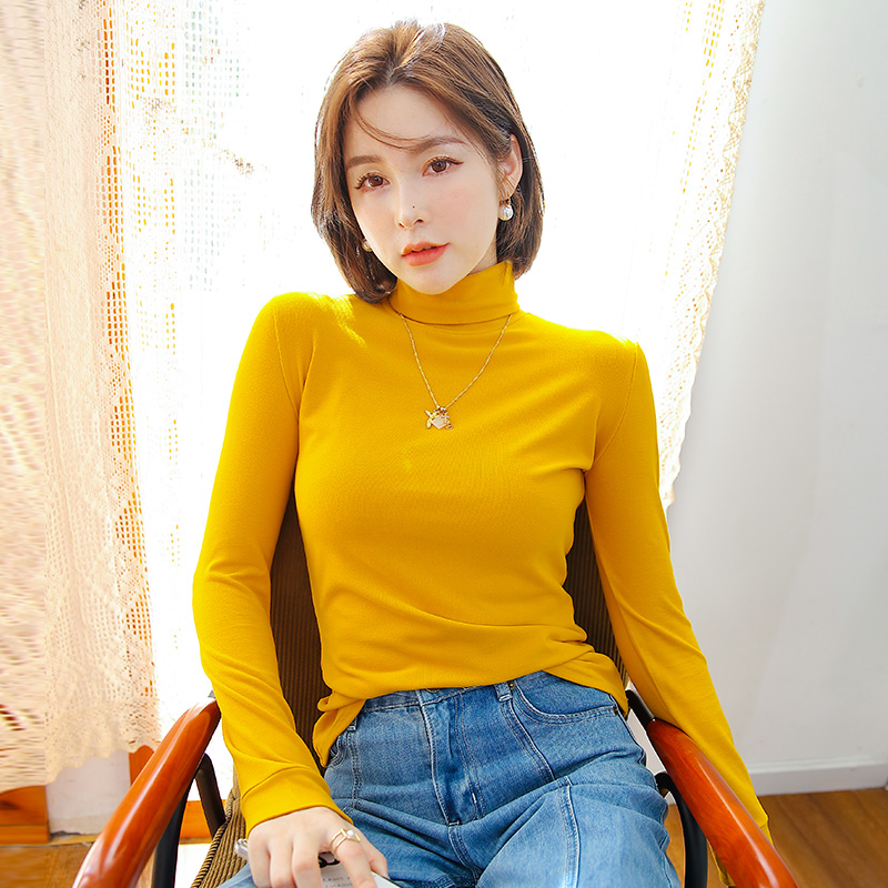 Base coat womens autumn and winter long sleeve 2020 new style with net red slim solid color top inside and high collar cotton T-shirt outside
