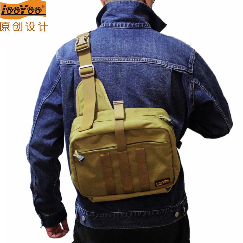 looyoo/A13欧美鞍袋包休闲单肩胸包手提多功能收纳包高规尼龙面料