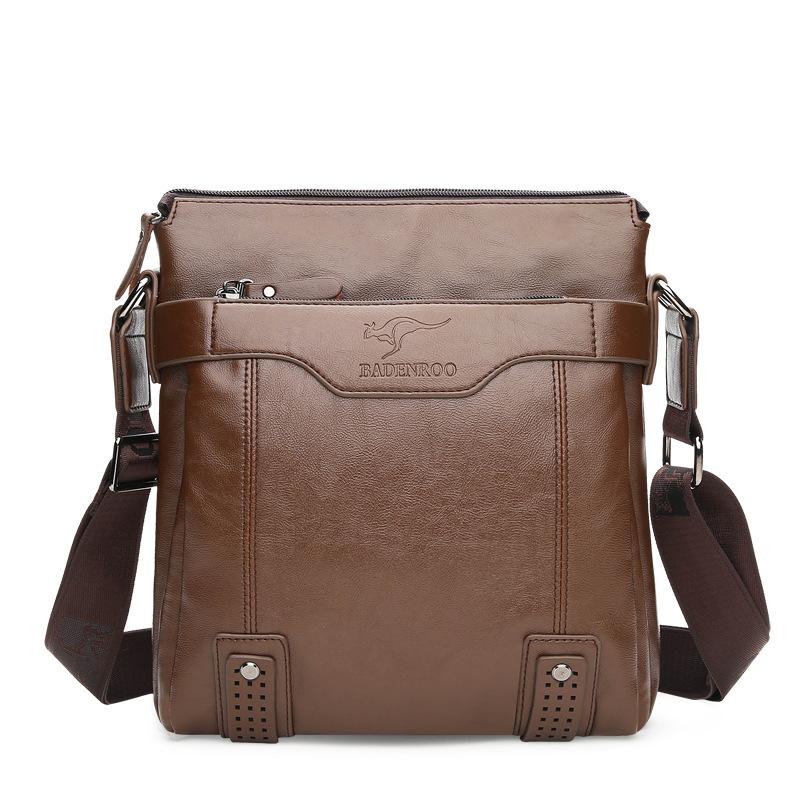Fashion Korean mens bag single shoulder bag cowhide mens messenger bag vertical square straddle leather bag leisure backpack hanging bag
