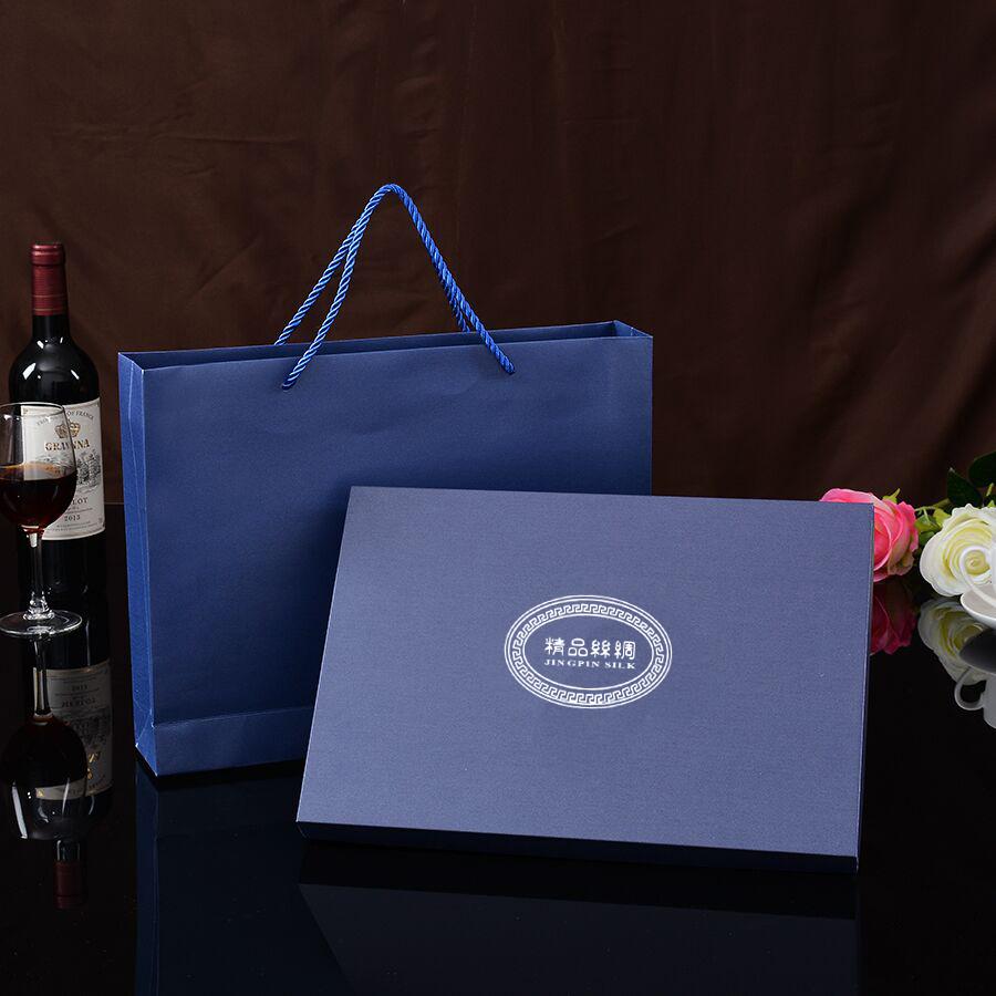 高档精品丝巾丝绸睡衣礼品包装盒  欧美长方形手提袋 烫印LOGO