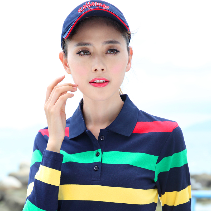 Lead spring clothes on collar striped T-shirt women long sleeve Korean casual Lapel top top top business wear