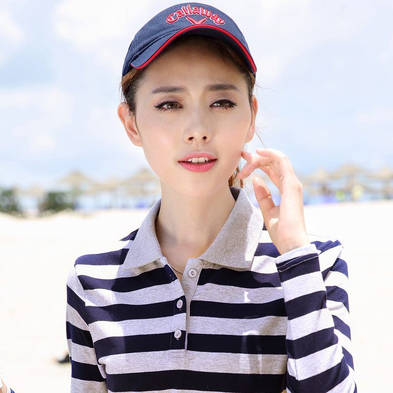 Novel mouse long sleeve T-shirt womens collar bottoming shirt pure cotton clothes versatile show thin Lapel Stripe Polo Shirt trend