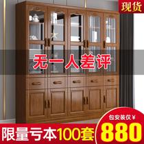 新中式全實木書柜書房實木帶玻璃門書架組合落地3門6門儲物柜書櫥