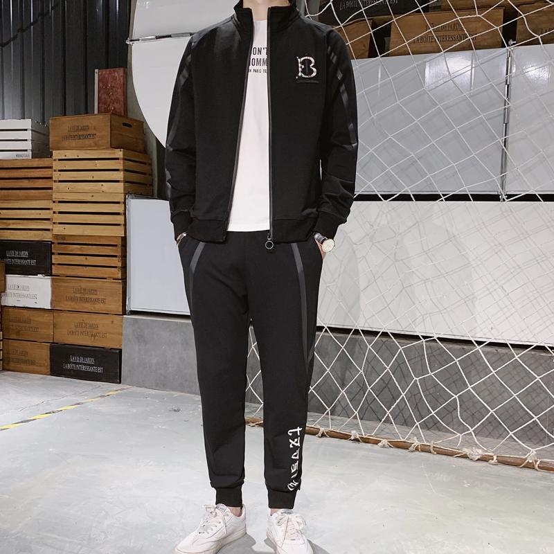 完美西休闲运动套装男款开衫长袖卫衣运动裤两件套运动服潮