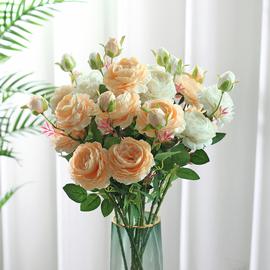 牡丹仿真花假花室內客廳裝飾花擺件餐桌花擺設防真玫瑰花干花花束圖片