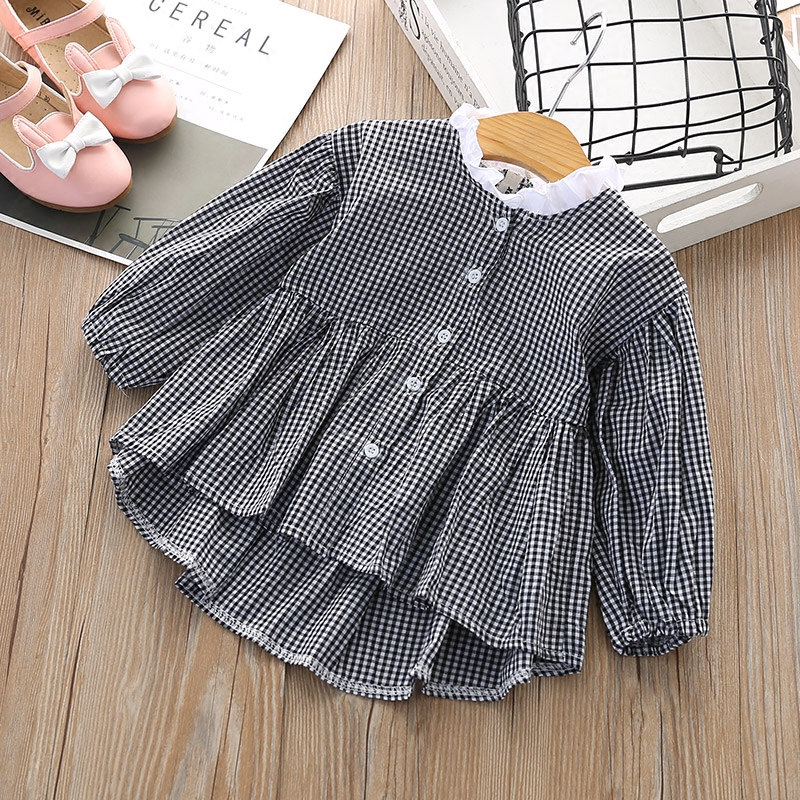 Girls shirt spring dress 2018 new Korean version baby long sleeve cardigan top childrens casual striped shirt skirt