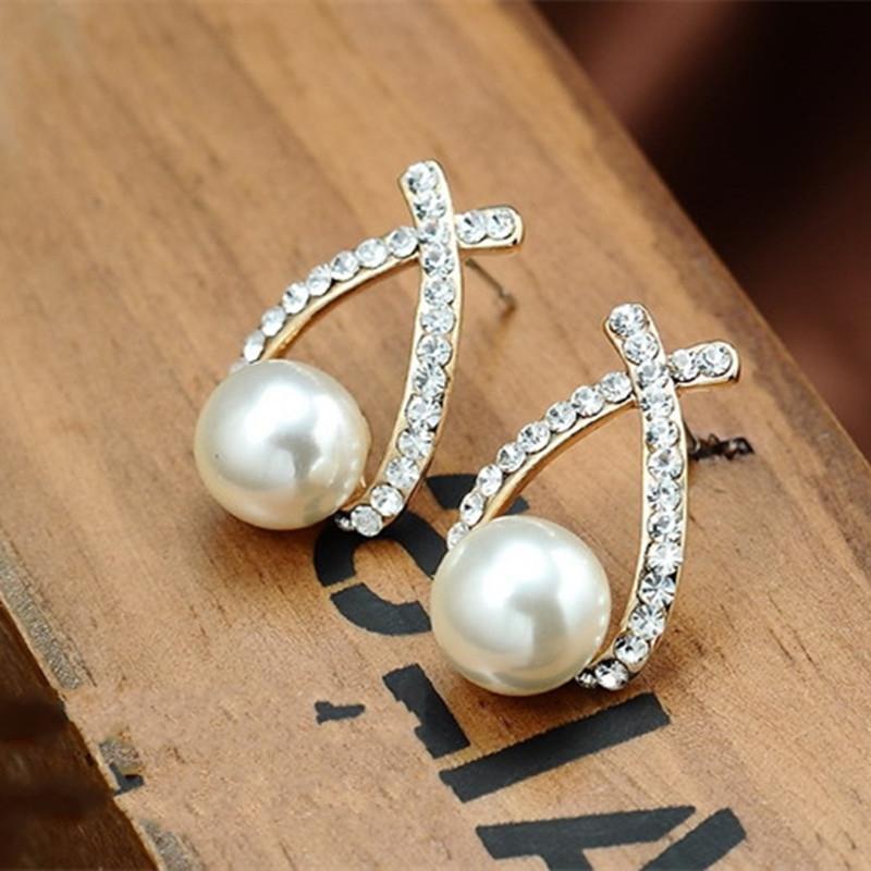 Korean new exquisite fashion earrings cross shaped pearl flash diamond earrings earrings earrings
