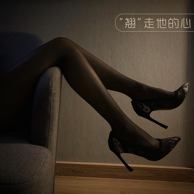 超薄丝袜情趣紧身丝袜 超紧女薄款 防勾丝反光丝袜女油光黑色性感