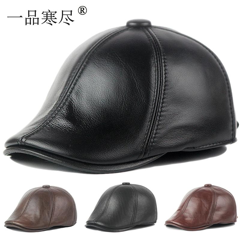 秋冬男子中高年の本革帽子に厚い保温性を持つアヒルの舌帽子女性レジャーベレー帽の牛皮防寒帽