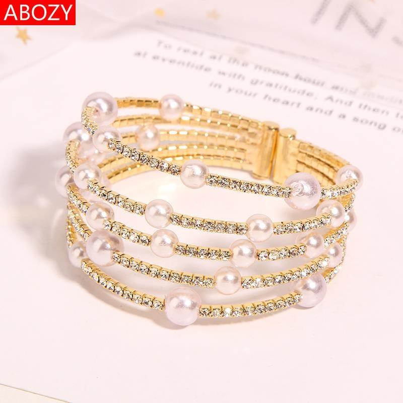 花式珍珠手链多层手链女缠绕时尚欧美复古夸张开口宽个性手镯手环
