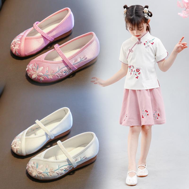 女童绣花鞋老北京儿童手工布鞋公主配古装古风中国风唐装汉服鞋子