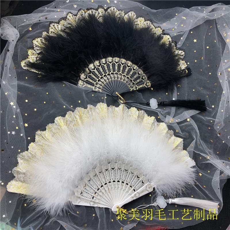 洛丽塔新款古典羽毛折扇甜美仙气少女Lolit暗黑哥特风宫廷扇摆拍