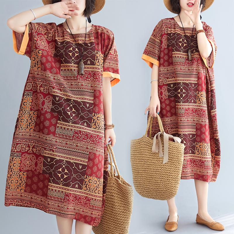 实拍现货 2020夏季新款苎麻拼色民族风复古连衣裙 限价43起