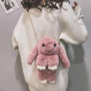 毛绒小女包2020秋冬季新款时尚毛毛包小清新可爱装死兔单肩斜挎包