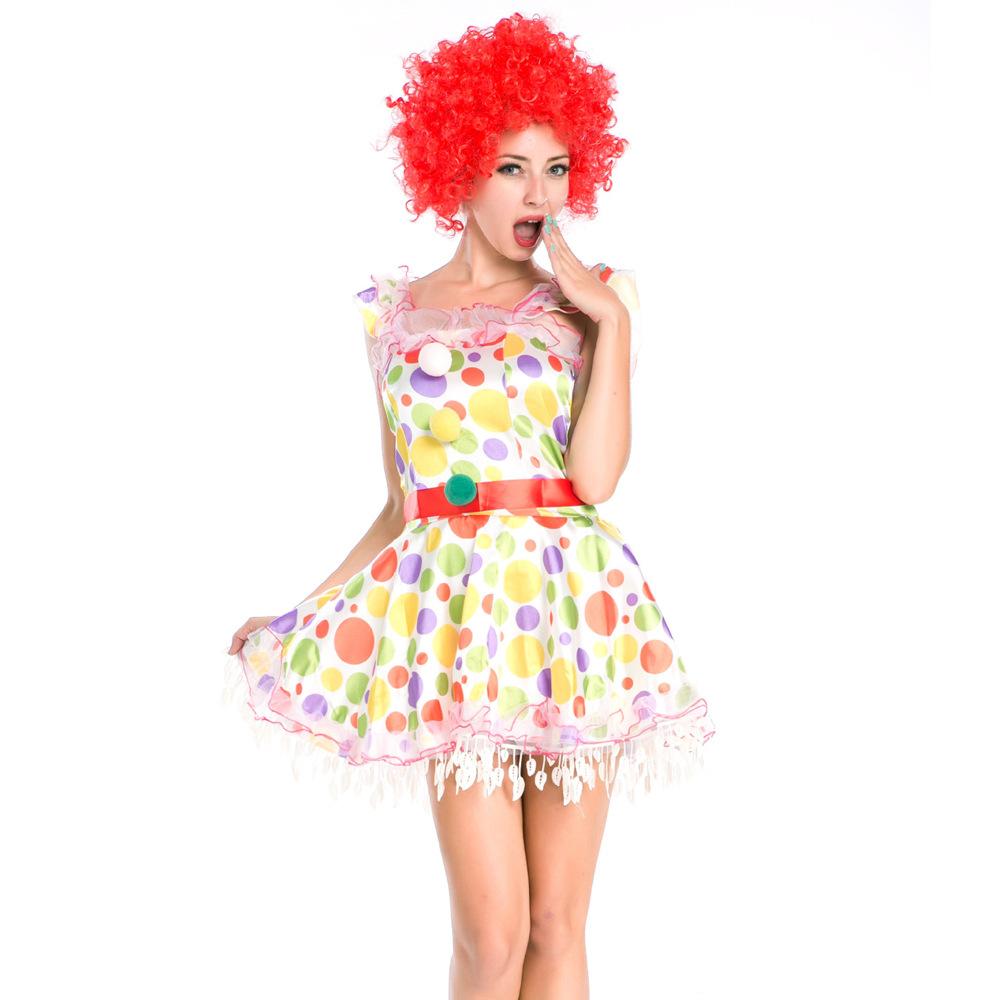 アニメの衣装にかつらを配したサーカスのピエロのコスプレ衣装でディニスのコスプレ衣装のハロウィン服。