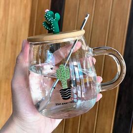 可爱少女水杯燕麦杯子简约森系清新高颜值玻璃泡茶杯透明带把家用