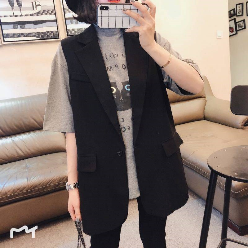 Womens vest in suit and waistcoat mid long 2020 spring and Autumn New Korean version with Black Vest Jacket
