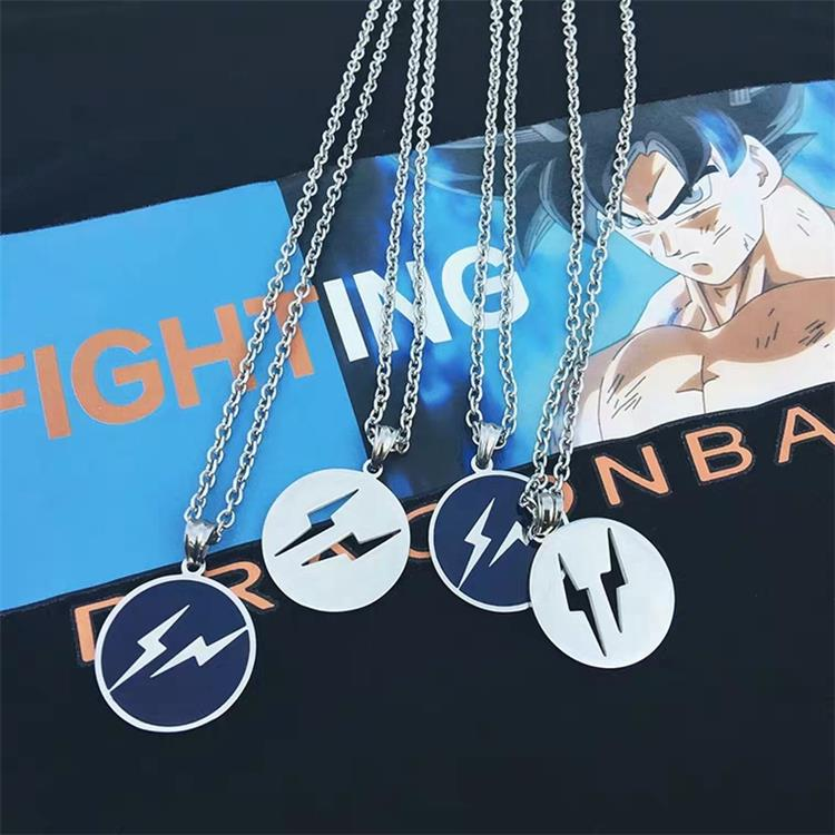 Chao brand Japanese and Korean ins Harajuku wind fujihara Hao lightning pendant simple personality men and womens lovers tag titanium steel necklace