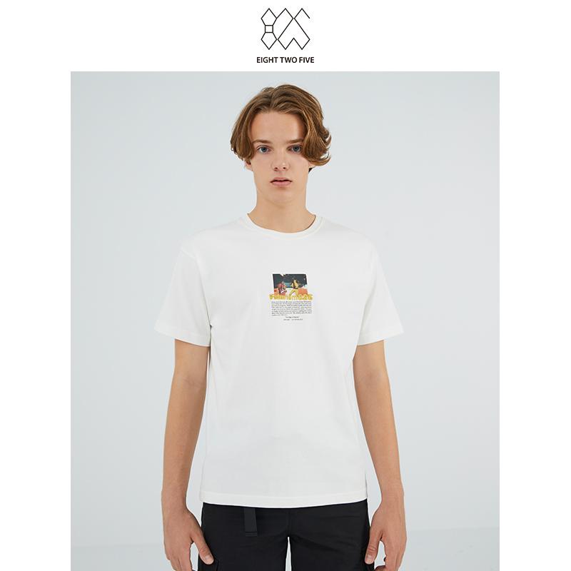 825 mens casual fashion simple pattern white cotton short sleeve T-shirt / Unisex