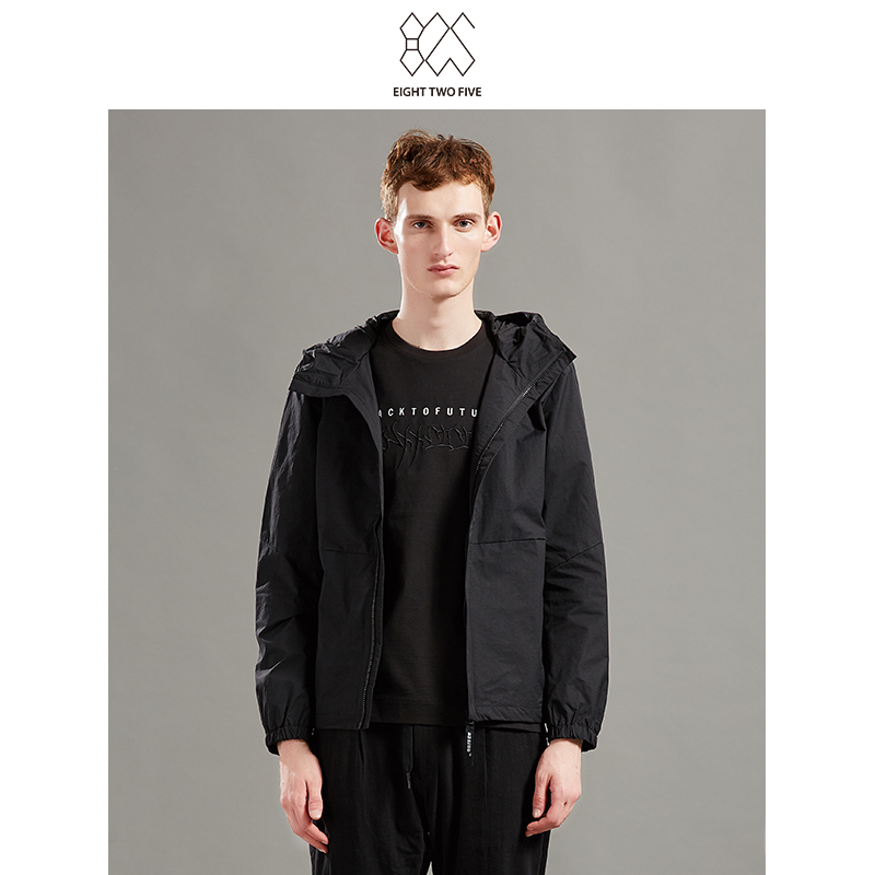 825男装线下专柜新款时尚休闲青春流行连帽设计商务黑色男式夹克