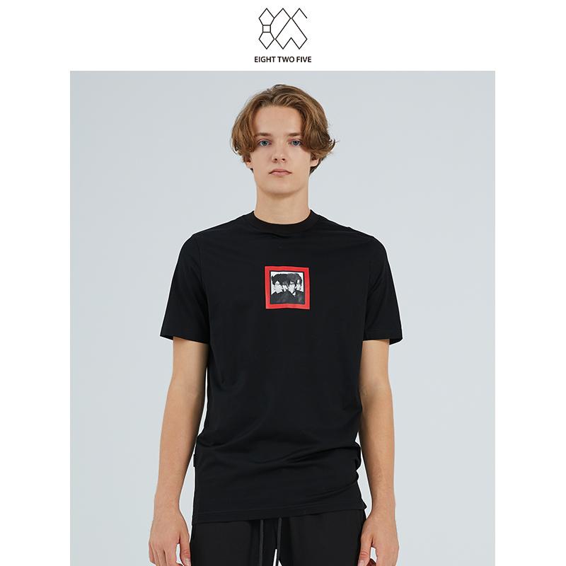 825男装线下专柜新款时尚简约舒适运动休闲风圆领黑色纯棉工装T恤