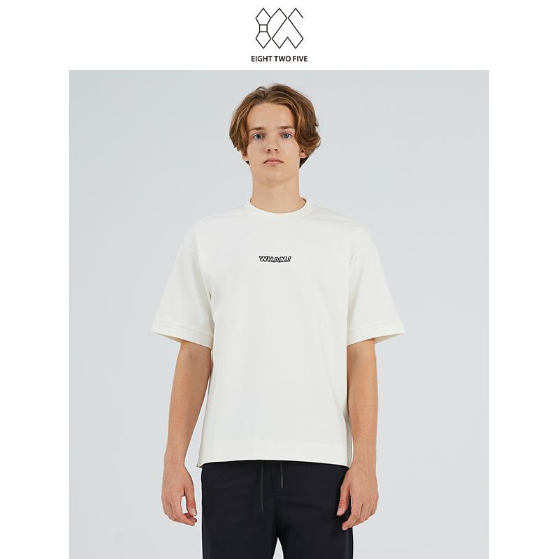 825男装怀旧休闲舒适运动字母印花白色男士短袖T恤
