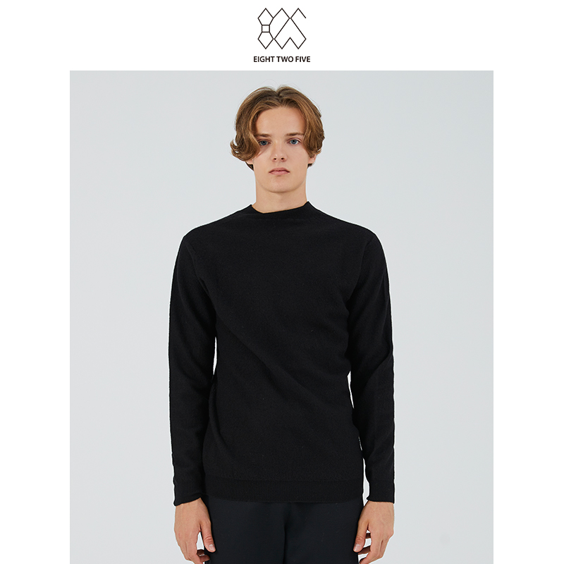 825 mens clothing counter new fashion comfortable breathable simple bottomed black pure wool sweater