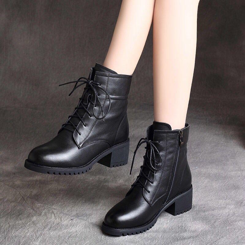 马丁靴女短靴2021冬季厚底中跟英伦风百搭粗跟防水台女靴子潮百搭
