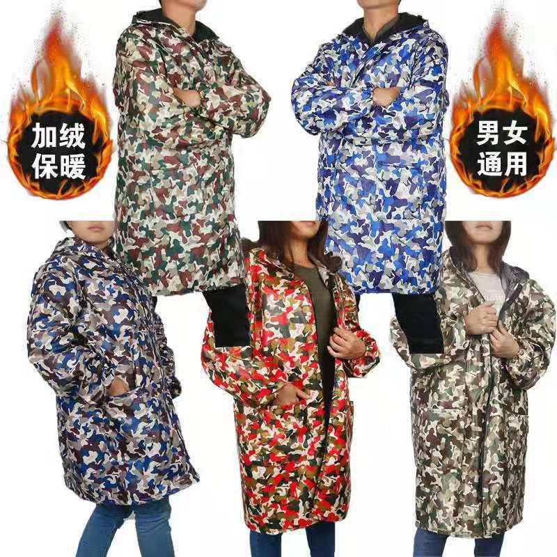 Winter smock, adult thickened down waterproof down jacket, smock, mens and womens long sleeve jacket, work clothes and hoods