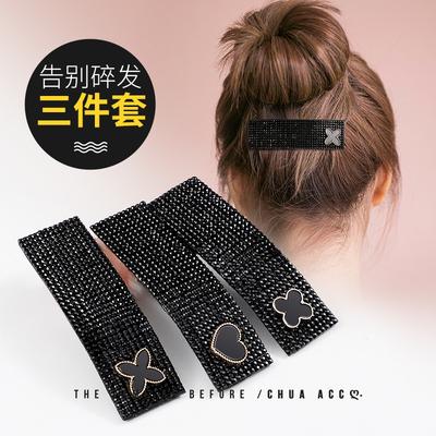 韩国水钻夹碎发夹子头饰边夹女黑色发夹后脑勺顶夹刘海BB夹简约风
